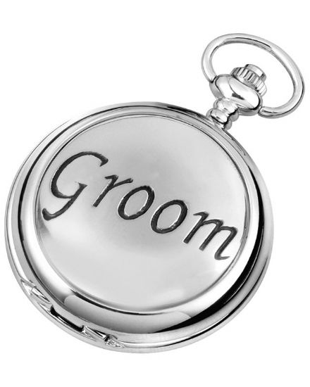 'Groom' Quartz Pocket Watch with Chain